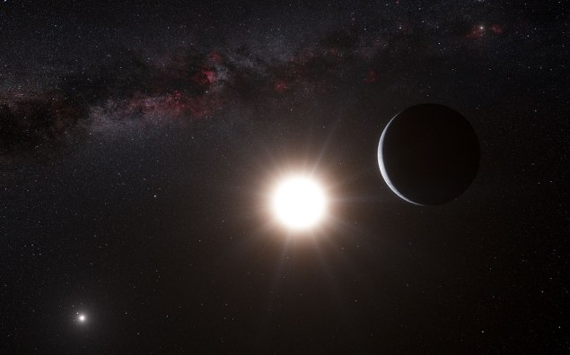 This artist's impression was originally created to show the planet orbiting the star Alpha Centauri B, a member of the triple star system that is the closest to Earth. Alpha Centauri B is the most brilliant object in the sky and the other dazzling object is Alpha Centauri A. Our own Sun is visible to the upper right. The tiny signal of the planet was found with the HARPS spectrograph on the 3.6-metre telescope at ESO's La Silla Observatory in Chile.